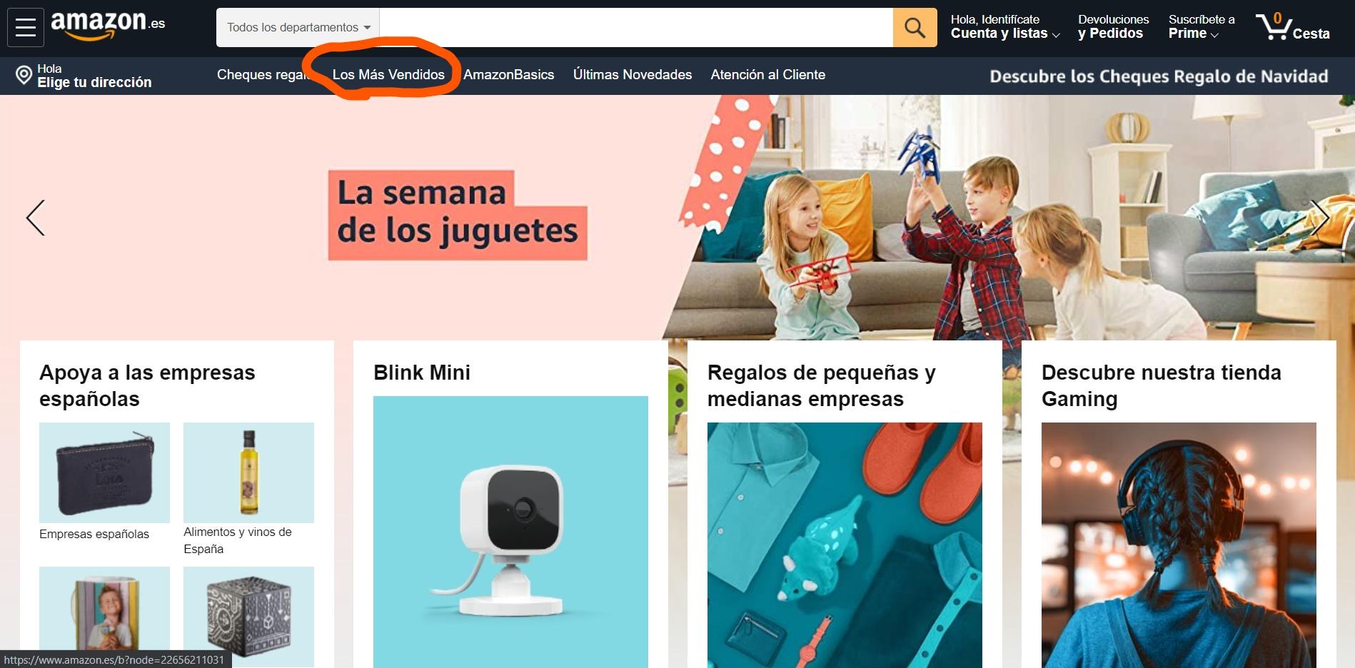 acceder a los más vendidos en Amazon