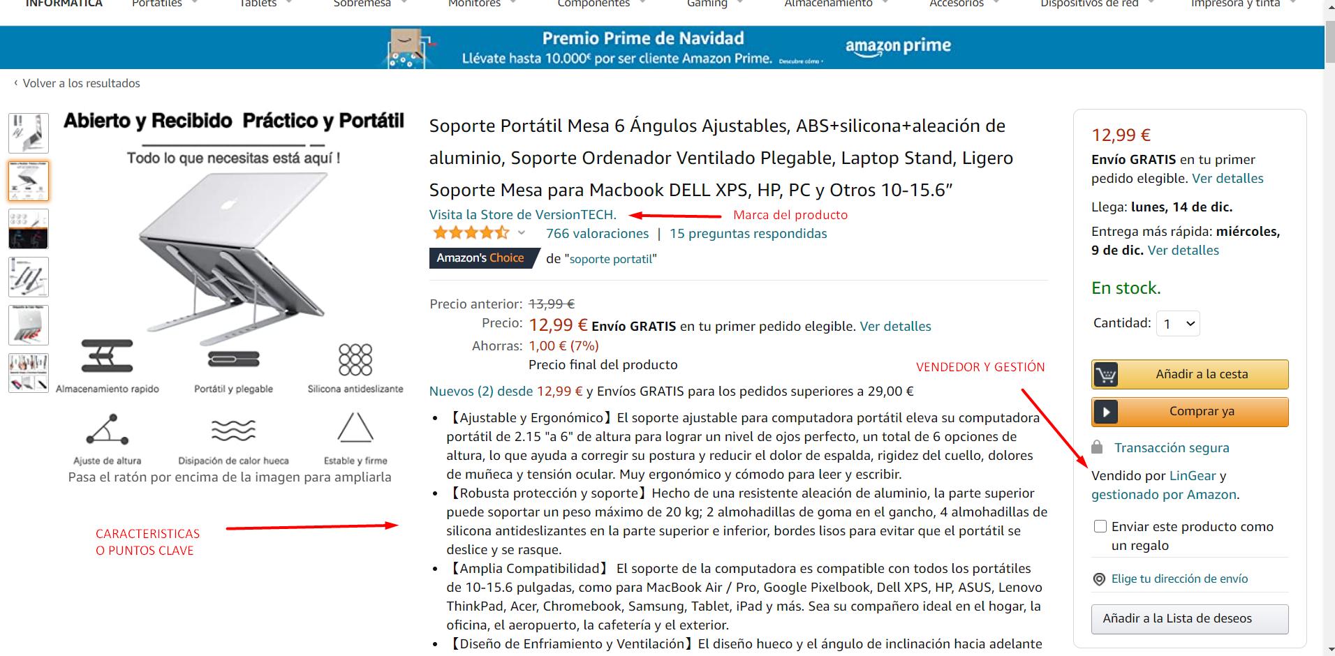 ficha de un producto en Amazon