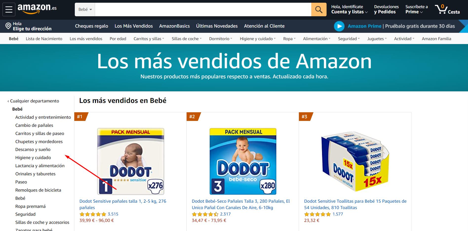 subcategorías de Amazon